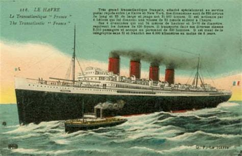 """""""France"""", departure Le Havre (old card, coll"""