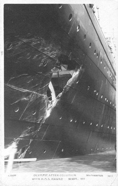 A great shot of the damage to the RMS Olympic, Cunard Line