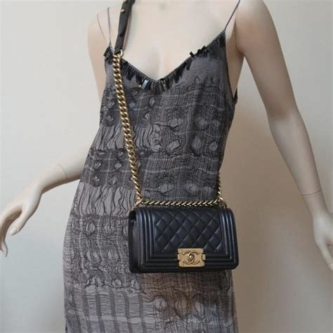 Chanel Boy Small Black Aged Gold Hardware Calfskin Leather
