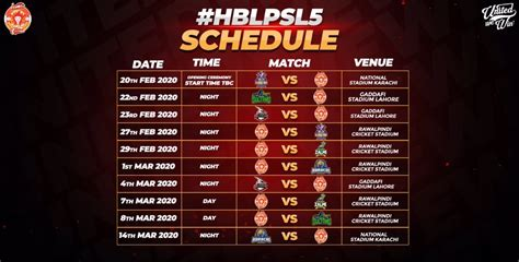 PSL 2020 Schedule, Match Fixtures & Time Table - PSL 5