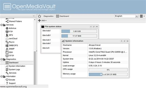 NAS-Distribution OpenMediaVault in Version 1