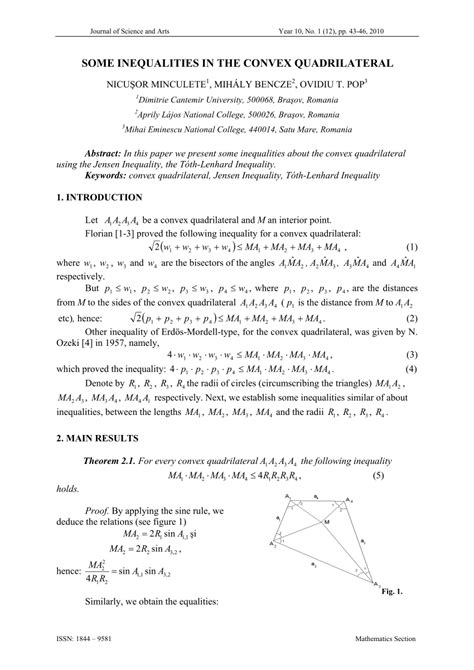 (PDF) Some inequalities in the convex quadrilateral