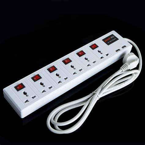 Multi Functional Plug 6 Universal Outlet & 2 USB Charger