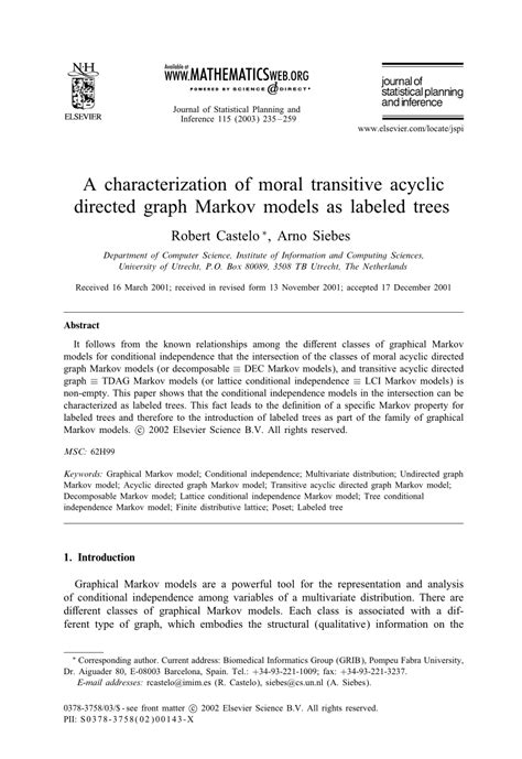 (PDF) A Characterization of Moral Transitive Directed